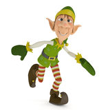 Elf santa helper running for xmas Stock Image