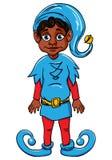 Elf. Santa's helper, wearing blue suit. Dark hair elf. Santa's helper, wearing blue suit Royalty Free Illustration