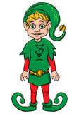 Elf. Santa's helper, wearing green suit. Blond elf. Santa's helper, wearing green suit Stock Illustration