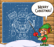 Elf and the scheme of the robot santa on the wall Royalty Free Stock Photo