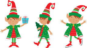 Elf Set. Cute set of three cheerful elves. Eps10 Royalty Free Stock Images