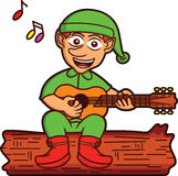 Elf Singing While Playing Guitar Cartoon Illustration Royalty Free Stock Images