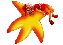 Elf sleeping on a star stock photo