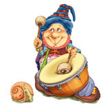 Elf with a snail plays a drum. The fantastic elf and little snail execute march on a drum. Invitation card for a holiday or birthday. Raster illustration Stock Images