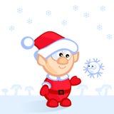 Elf and snowflake Stock Image