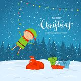 Elf on Snowy Background with Presents and Christmas Lights vector illustration