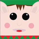 Elf. Square elf face with green hat and red and green collar Royalty Free Stock Photography