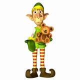 Elf with Teddy Bear vector illustration