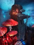 Elf, toadstools and blue beetle Stock Photography