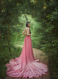 The elf walks in the garden. A girl with long ears in a beautiful pink dress with an open back and with a long train. Artistic processing royalty free stock photography