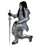 Elf Warrior - Kneeling. Elf warrior in decorated armour kneeling holding a sword, 3d digitally rendered illustration Stock Image