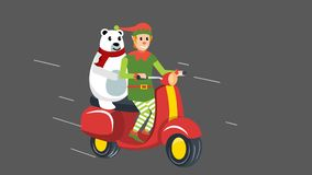 Elf and White bear on scooter ride
