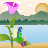 The Elf with wings. The Elf (fairy) with wings, sits on a flower. Vector Stock Photos