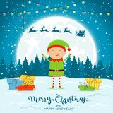 Elf on Winter Background with Gifts and Santa Claus. Happy elf with colorful Christmas lights and gifts on snow. Santa with reindeer and text Merry Christmas and stock illustration