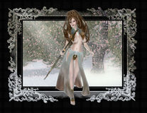 Elf in Winter Scene Background Stock Images