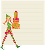 Elf wishes Merry Christmas Royalty Free Stock Photography