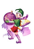 Elf withсhristmas-tree decorations Stock Images
