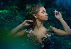 Elf woman in a forest Stock Photos