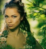 Elf woman in a forest Stock Images