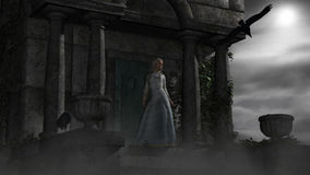 Elf woman in old spooky mausoleum in moonlight Royalty Free Stock Images