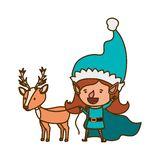 Elf woman with reindeer avatar character. Vector illustration design stock illustration