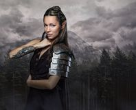 Elf woman with tattoo on her arm. Elf woman with tattoo on her arm over wild forest background royalty free stock image