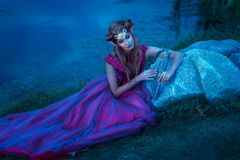 Elf woman in violet dress Stock Photography