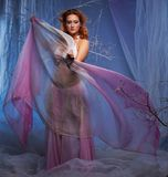 Elf woman with waving clothes in magical forest. Elf in magical winter forest Royalty Free Stock Photos