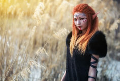 Elf women with fiery hair on nature. Elf woman with fiery hair on nature. Beautiful young fantasy girl. Cosplay character Royalty Free Stock Photography