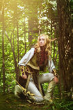 Elf From The Woods. Elf holding a bow with an arrow stock photo