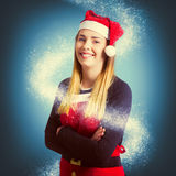 Elf wrapped up in the magic of christmas Royalty Free Stock Photography