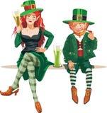 Elfa leprechaun i dziewczyna Zdjęcie Stock