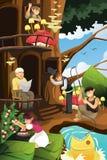 Elfa utrzymanie w drzewnym domu Zdjęcia Stock