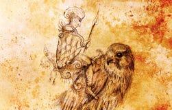 Elfa wojownik na jastrzębiu Ołówkowy rysunek na starym papierze Koloru skutek Zdjęcie Royalty Free