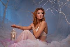 Elfe de femme avec une lanterne images stock