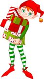 Elfe de Noël avec des cadeaux Images libres de droits