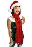 Elfe de Noël d'isolement sur le blanc Image libre de droits