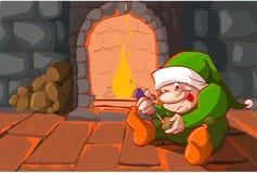 Elfe de Noël devant la cheminée Image libre de droits
