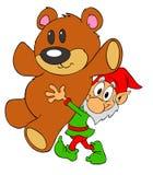 Elfe de Noël et ours de nounours Image libre de droits