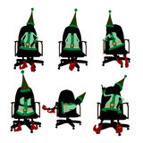 Elfe de Noël se reposant en silhouette de présidence Photo stock