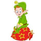 Elfe de Noël de bande dessinée ou aide mignon du père noël Photos libres de droits