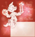 Elfe de Santa sur la carte de Noël, bunner, marquant avec des lettres Images libres de droits
