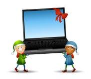 Elfe, die Laptop tragen Stockfoto
