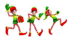 Elfe, die mit Geschenk tanzen Stockbild