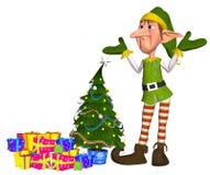 Elfe fatigué devant des cadeaux Image libre de droits