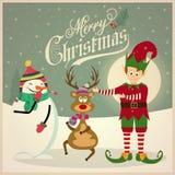 Elfe mignon avec le bonhomme de neige et le renne Carte de Noël illustration stock