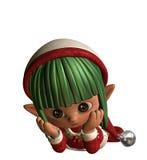 Elfe pensif de Noël Image stock