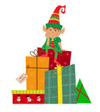 Elfe und Geschenke Stockbilder