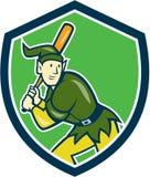 Elfen-Baseball-Spieler-Schlagen-Schild-Karikatur Stockfoto