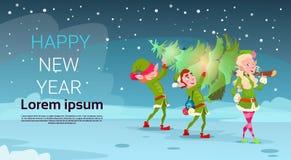 Elfen-Gruppen-Carry Christmas Green Tree Greeting-Karten-Dekorations-guten Rutsch ins Neue Jahr-Fahne Stockbilder